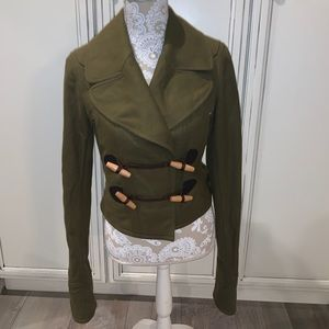 Burberry Brit Brown Wool Cropped Toggle Coat NWOT